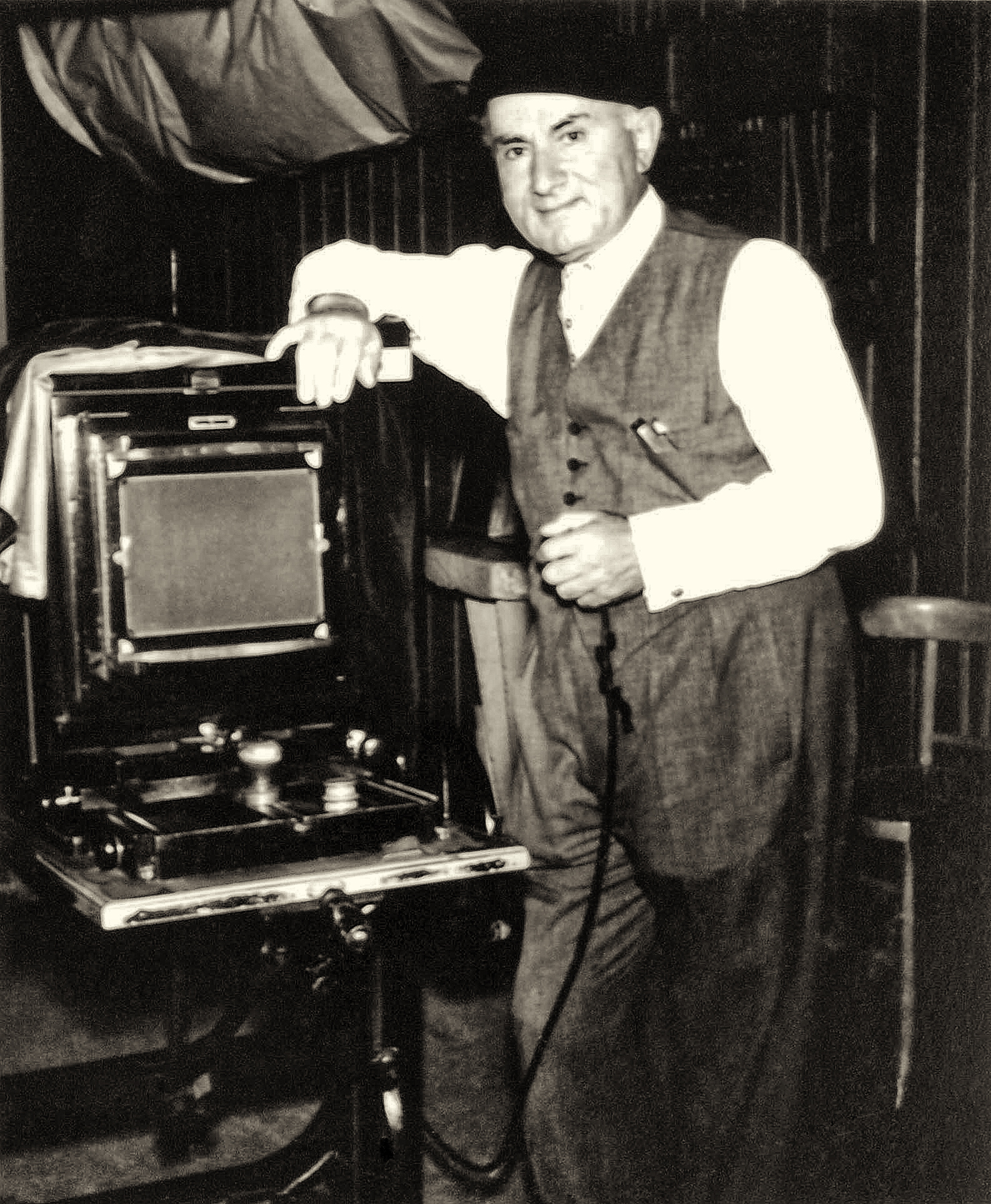 Boris with his studio plate camera - the Kodak 'Big Bertha'